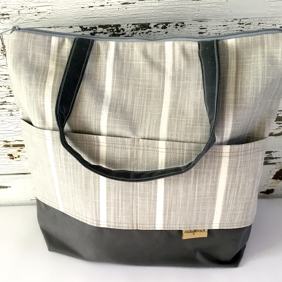 e3b9c92fcbbab Baby bag / Grey Stripe -Lightweight, washable and durable! Vegan diaper  bags by Darby Mack made in the USA