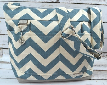 Denim blue chevron stripe, Retro!  Camera bag, washable by Darby Mack and 100% USA made, durable, Lightweight DSLR Gear, Waterproof canvas