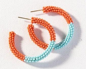 Coral with light blue, seed bead HOOP earrings  Darby Mack
