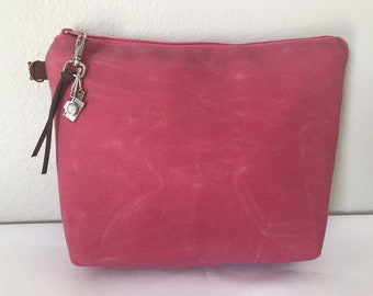 Waxed canvas vegan cosmetics bag, faux leather by Darby Mack & made in the USA