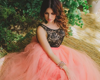 Coral/Peach Maxi Tulle Skirt/Tutu Floor Length Resort Fashion