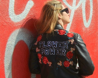 Flower Power Black Moto/Biker Jacket with Red Roses/Rose/Flower Appliques - Custom