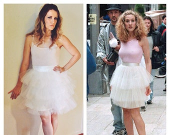 Carrie Bradshaw Tutu Tulle Skirt, 3 layer Ivory Midi – Sex and the City Inspired