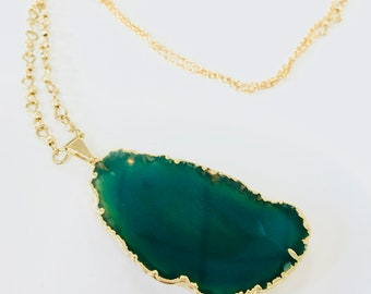 Green Agate Slice Pendant Necklace in 24K Gold Long Gift Boho Raw Stone Natural Jewelry Summer Travel Style