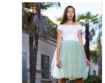 Sample sale! Carrie Bradshaw Tutu Tulle Skirt, Knee length/Midi in Sage/Olive Green Bridesmaids small