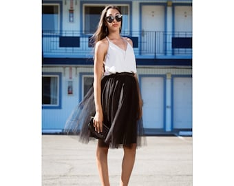 Black Tulle Skirt Knee Length/Midi Cocktail Party Tutu