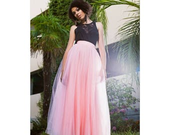 Peach Tulle Maxi Skirt Full/Floor Length Apricot/Spring Style/Bridesmaids