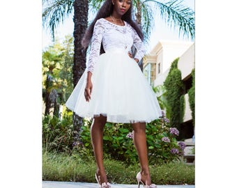 Knee length Ivory Tulle Wedding Skirt  Modern Bride