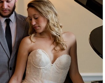 Sample sale 36b The Champagne Dreams Lace/pearl Bustier Tulle Wedding Skirt and Corset/Bustier As Featured in Etsy Finds Weddings Newsletter