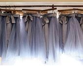 Charcoal grey/gray Bridesmaids Tulle Skirt Midi/Maxi Tea Length or Floor Length