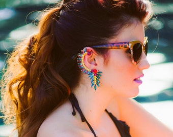 Bird of Paradise Ear Cuff Hand Painted Tropical Earring Featured in the Etsy Finds! Spring Break Style