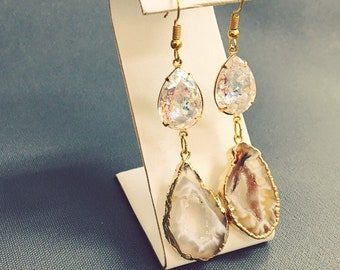 Moonbeam gold Druzy Agate Raw Stone Slice Earrings Geode Moonstone Swarovski crystals celestial bridal jewelry