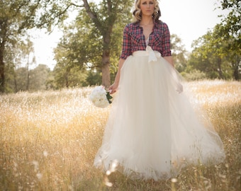 Ivory Tulle Bridal/Wedding Skirt Floor Length/Maxi Adult A-Line Tutu