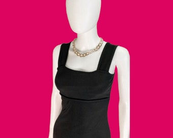 Vintage 90's Little Black Tank Dress Sleeveless Size Small Made in USA Sustainable Fashion