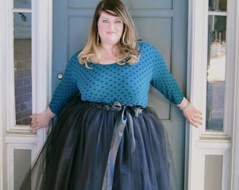 Plus Size Tulle Skirt Floor Length Adult Tutu with Satin Ribbon Sash, Custom Colors – Featured in The Etsy Editors Picks!