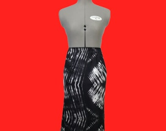SALE Black and White Stretch Pencil Skirt Work Wear Active/athleisure Travel Office Tie Dye Spandex
