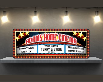 Personalized Cinema Wall Art, Movie Marquee Home Theater Sign With Starry  Design, Movie Theater Decor, Movie Signs, Home Theater, C1438