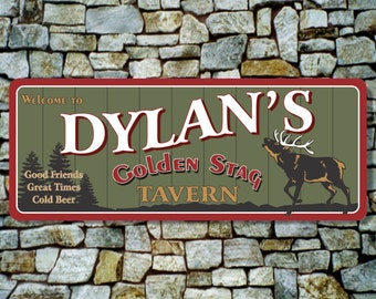 Tavern Sign, Custom Bar Sign, Rustic Sign with Bugling Elk, Custom Sign, Home Bar Decor, Cabin Decor, Rustic Decor, Personalized Sign C1255