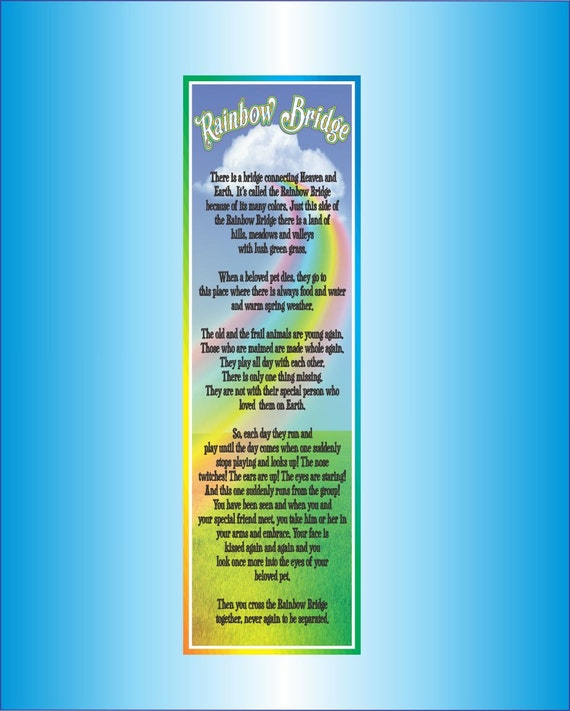 Rainbow Bridge Poem Pet Loss Inspirational Sign With Colorful Etsy