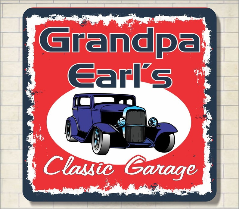 Custom Antique Garage Car Vintage Sign New Look Hot Wall Decor Classic Rod  Signs Home Bar Personalized  Personalized Car Sign, C1165
