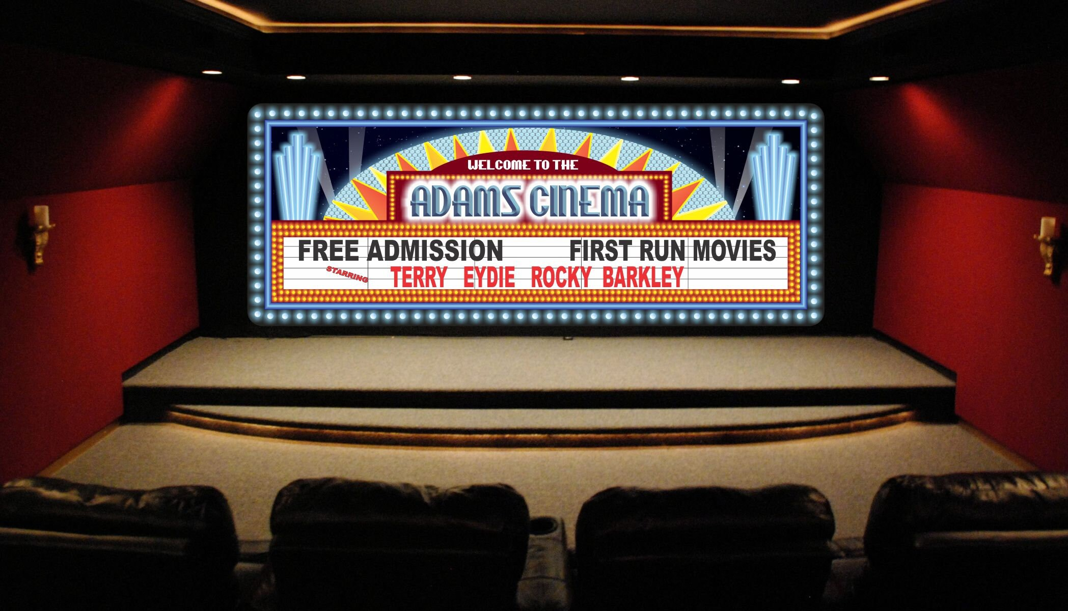 Personalized Home Cinema Sign With Vintage Movie Theater