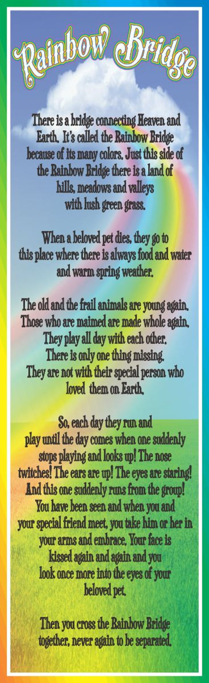 image about Rainbow Bridge Poem for Dogs Printable named RAINBOW BRIDGE PRAYER FOR Pets GTRAT t