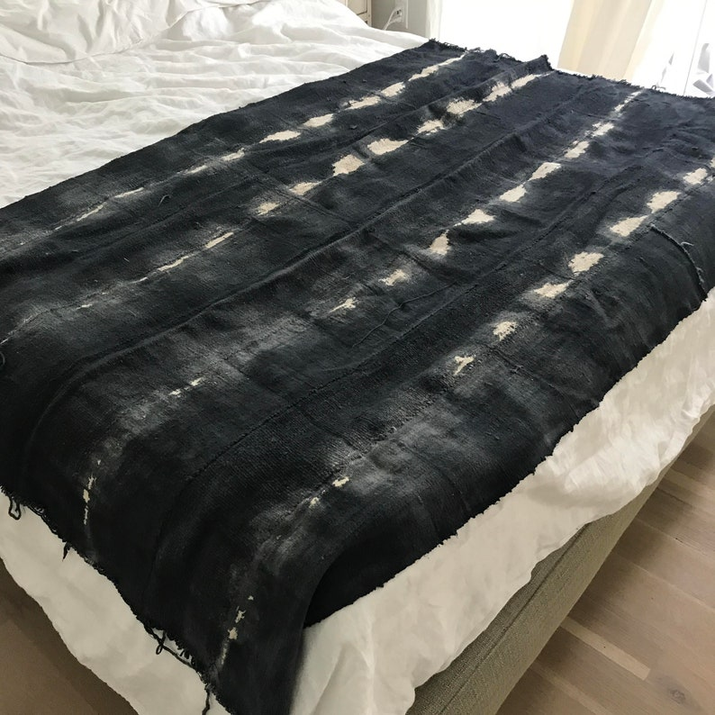 Dark blue African mud cloth fabric textile or throw blanket
