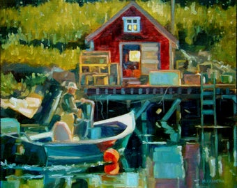 Pulling In - Boothbay Harbor - Oil Painting on Linen Panel - 10 x 12
