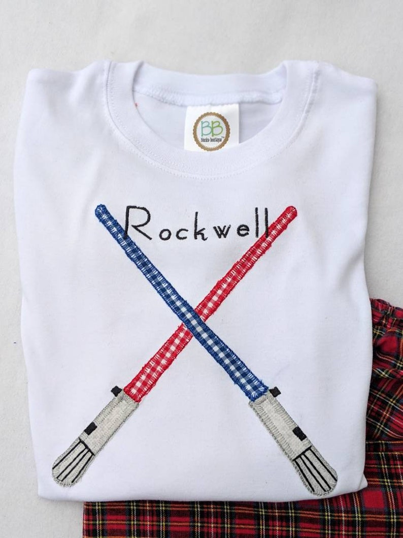 Boys Lightsaber Red Plaid Flannel Pajama Set Name included