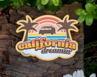 California Stickers Hippie Stickers California Dreamin Travel Sticker California Gift Hippie Van Groovy Surf Sticker Mamas and The Papas