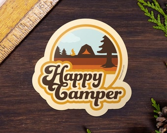 Happy Camper Stickers, Camping Adventure Stickers, Water Bottle Sticker, Outdoorsy Stickers, Luggage Stickers, Wanderlust Gift HC1