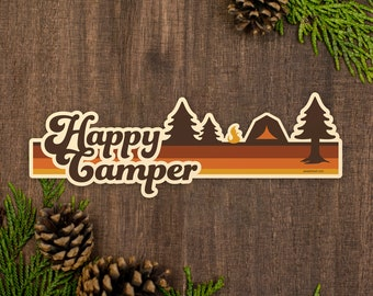 Happy Camper Bumper Sticker, Retro Camping Car Sticker, Weatherproof Van Sticker [BS5]