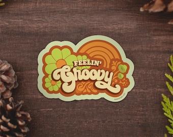 Feelin' Groovy Retro Water Bottle Sticker, Flower Power Vinyl Sticker, Psychedelic Floral Sticker Shop, Nature Sticker, Hippie Sticker FG1