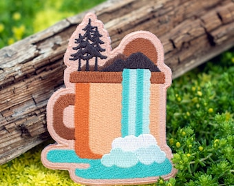 Nature Patch, Outdoor Iron On Embroidered Patches, Adventure Lover Hook and Loop EDC Morale Patch, Mountain Forest Backpack Patch [AMPA1]