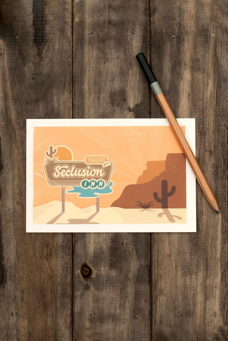 Postcards Cactus Desert Travel Postcard Snail Mail Souvenir Retro Design Vintage Hotel Sign Camping Adventure Arizona New Mexico Camping