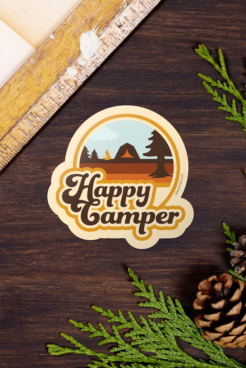 Happy Camper Stickers Camping Adventure Stickers Water image 0
