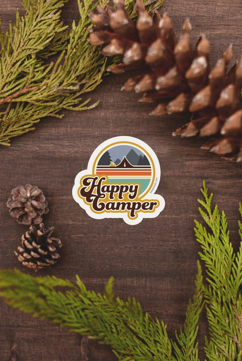 HC1 Happy Camper Camping Stickers Adventure Stickers Water image 0