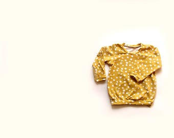 Mustard spot Organic cotton baby long sleeved t-shirt, baby tee, baby clothes, toddler t-shirt