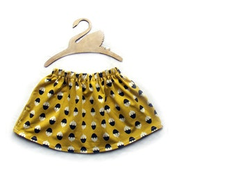 Sweetcones mustard organic cotton jersey skirt, little girls clothing