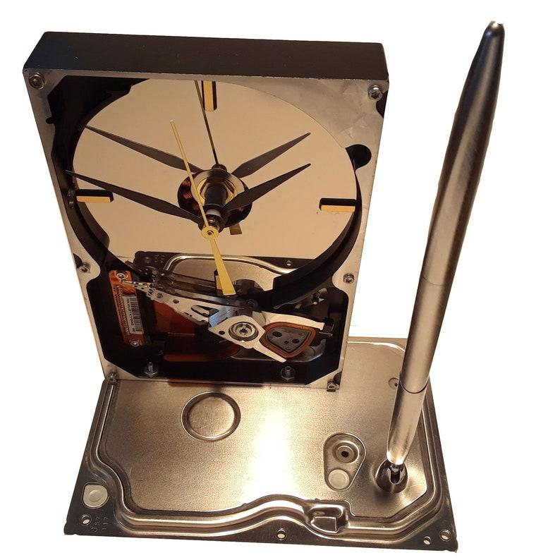 Teacher Clock. Geek Clock Geek Desk Set Pen Holder Clock Unique Geek Clock Hard Drive Clock Cool Office Clock Business Award Clock