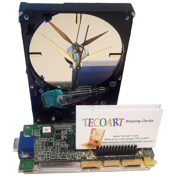Business card holder hard drive clock unique gadget geek etsy image 0 colourmoves