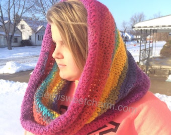 Cowl Hood for Women Wizard Pretty Winter Hat Snow Crochet PDF Pattern DIY Hooded Woman Lady