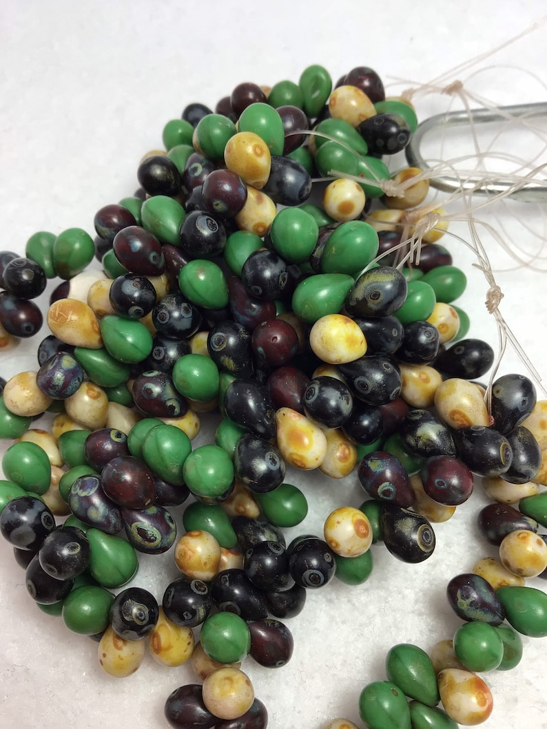 CZE 5x7mm Czech Drop Bead Burnt Umber Ivory Black and with Picasso Finish