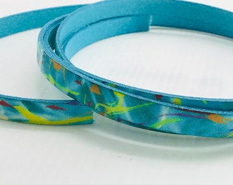 10mm Flat Leather  Patterned Multicolored Patterned Blue