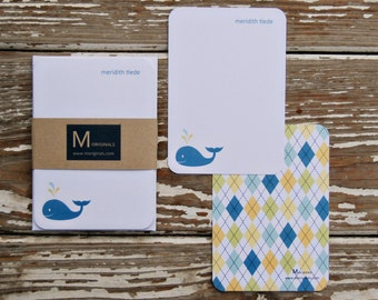 Personalized Notecards - Set of 8 - Whale
