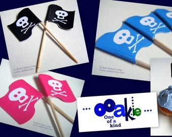 Jolly Roger Pirate Flag CUPCAKE PICK DOWNLOADS, Easy to Make Decorations in Pink, Blue + Black. Printable, Cut and Stick. Skull & Crossbones
