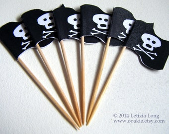 Jolly Roger Pirate Flag CUPCAKE PICK DOWNLOAD, Easy to Make Cake Decorations. Printable, Cut and Stick. Skull & Crossbones, Halloween Party