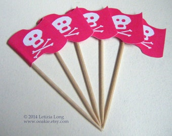Pink Jolly Roger Pirate Flag CUPCAKE PICK DOWNLOAD, Easy to Make Decorations. Printable, Cut and Stick. Skull & Crossbones, Halloween Party