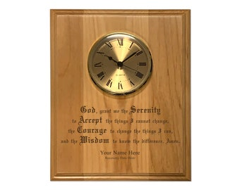 Personalized 8x10 Serenity Prayer Plaque with Clock - AA, NA, Al-Anon, 12 Step Recovery Gifts