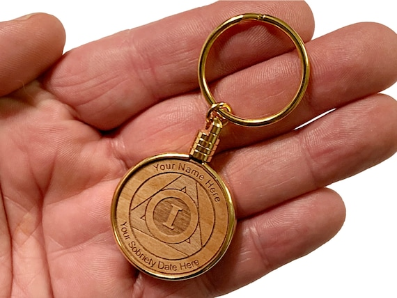 a91d9d67f20 Personalized AA Medallion Keychain Alcoholics Anonymous
